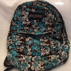 Floral Brown And Teal Jansport Backpack